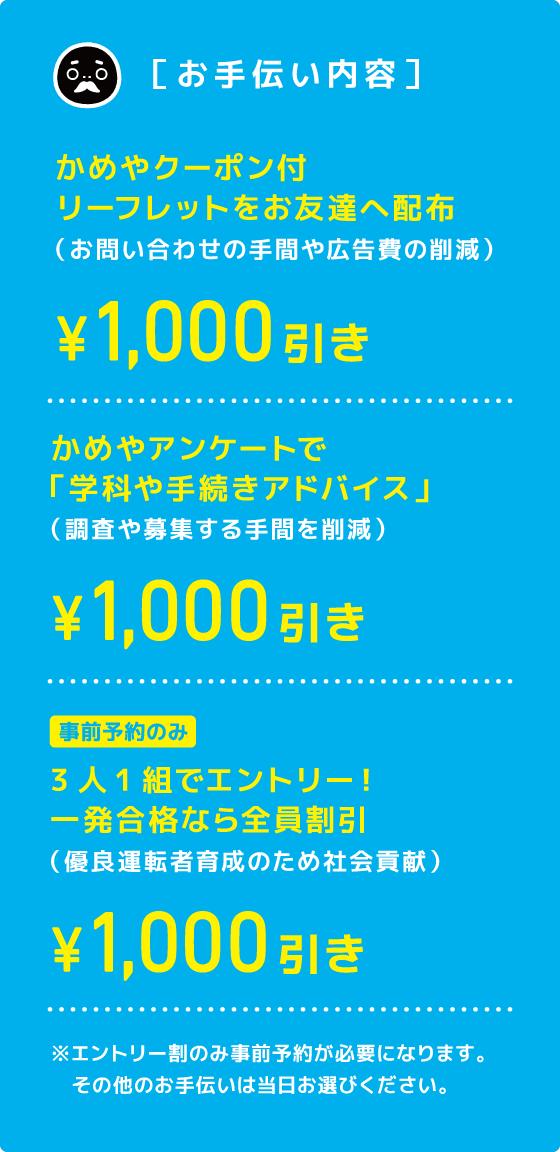 [お手伝い内容]かめやクーポン付リーフレットをお友達へ配布、かめやアンケートで「学科や手続きアドバイス」、3人1組でエントリー!一発合格なら全員割引(事前予約のみ)…¥1,000引き